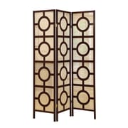"Monarch 3 Panel Circle Design Folding Screen, 70 1/2"" x52"", Cappuccino"