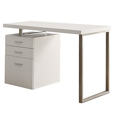 Monarch Specialties I 7027 Hollow-core Left or Right Facing Computer Desk, White