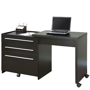 Monarch Specialties I 7030 Slide-out Desk with Storage Drawers, Cappuccino