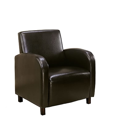 Monarch Leather Accent Chair With Arms, Dark Brown