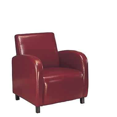 Monarch Leather Accent Chair With Arms, Burgundy