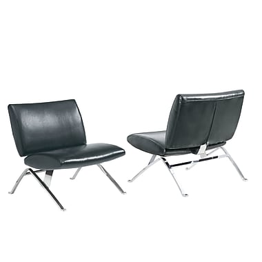 Monarch Specialties Inc. Leather Armless Chair, Black (I 8073)