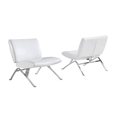 Monarch Specialties Inc. Leather Armless Chair, White (I 8074)