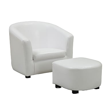 Monarch Specialties Inc. I 8104 Polyurethane/Plywood Juvenile Chair/Ottoman, White