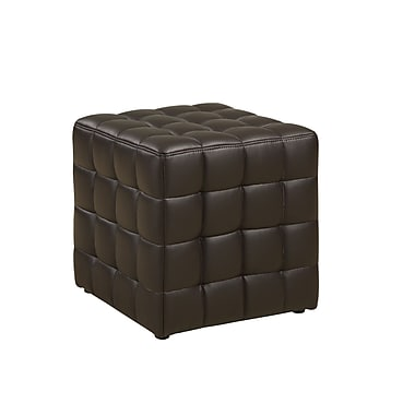Monarch Leather Look Ottoman, Dark Brown