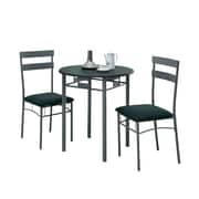 Monarch Metal 3 Piece Bistro Set, Black/Silver