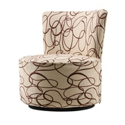 HomeBelle Swirl Print Round Swivel Chair, Chocolate