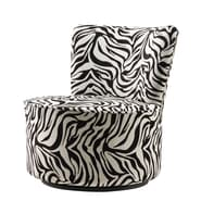 HomeBelle Zebra Print Round Modern Swivel Chair, Black/White