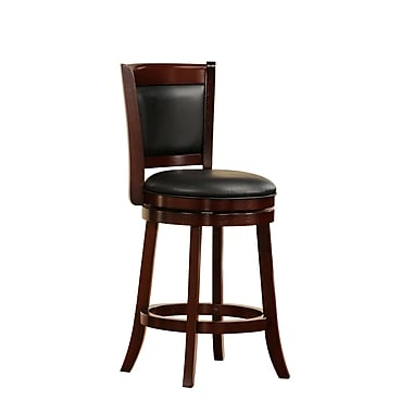 HomeBelle 24in. Swivel Counter Height Stool, Cherry