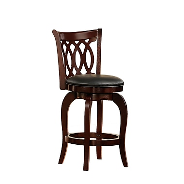 HomeBelle 24in. Scroll Back Swivel Counter Stool, Cherry