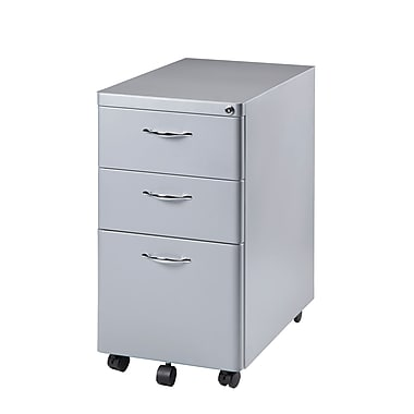 HomeBelle 3 Drawer Mobile File Cabinet, Silver
