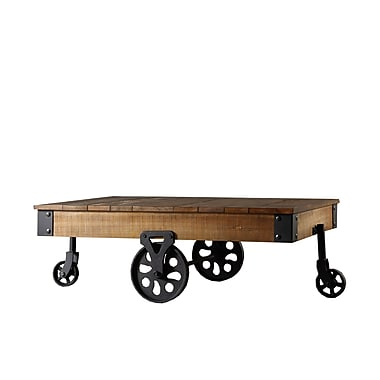 HomeBelle Vintage Industrial Modern Rustic Cocktail Table