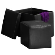 HomeBelle Storage Ottoman With Mini Foot Stool, Black