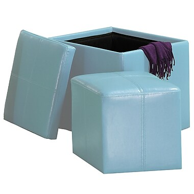 HomeBelle Storage Ottoman With Mini Foot Stool, Blue