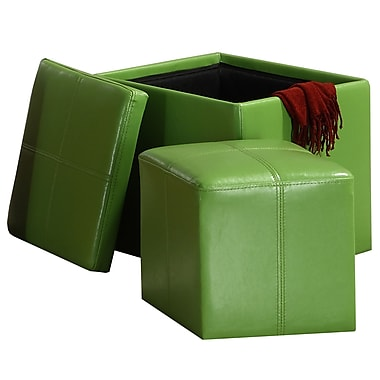HomeBelle Storage Ottoman With Mini Foot Stool, Green