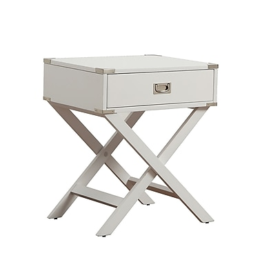 HomeBelle Accent Table With X Leg Nightstand, White