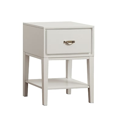 HomeBelle Rectangle Accent Table Nightstand, White