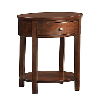 HomeBelle Oval Accent Table Nightstand, Espresso