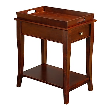 HomeBelle Tray Top Accent Table Nightstand With 1 Drawer