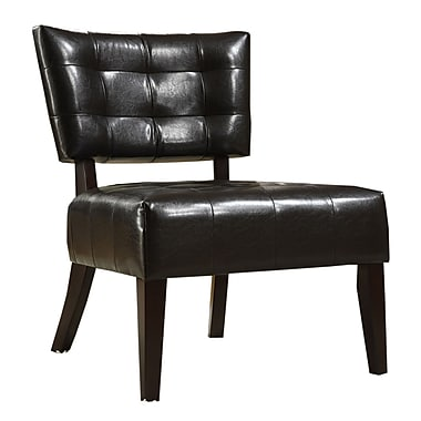 HomeBelle Faux Leather Armless Occasional Chair, Brown