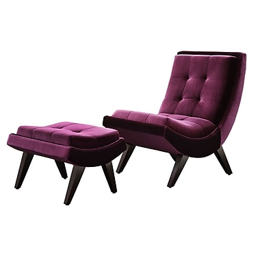 HomeBelle Velvet Lounging Chair With Ottoman, Plum