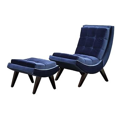 HomeBelle Velvet Curved Chair and Ottoman Set, Blue