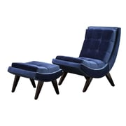 HomeBelle Velvet Curved Chair and Ottoman Set, Blue