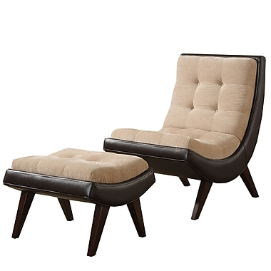 HomeBelle Two Tone Lounging Chair With Ottoman