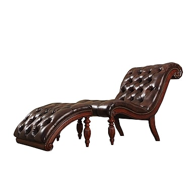 Homebelle classic bonded leather tufted chaise with for Bonded leather chaise