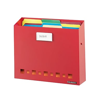 MMF Industries™ STEELMASTER® Soho Collection™ Wall File Basket With Label Holder, Red