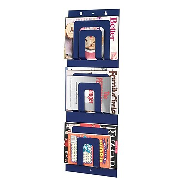 MMF Industries Steel Master Soho Collection 6-Pocket Steel Magazine Rack, Blue
