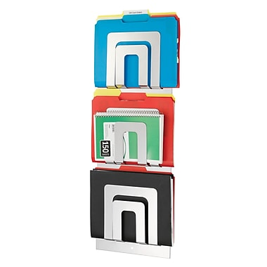 MMF Industries™ STEELMASTER® 3-Tier 6 Pocket Magazine Rack, Silver, 31