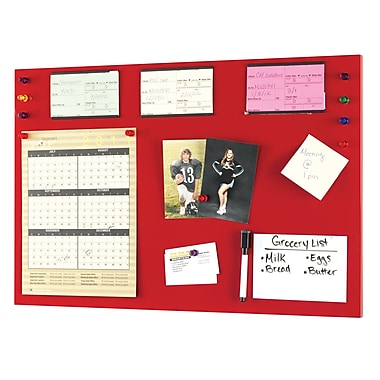 MMF Industries™ STEELMASTER® Soho Collection™ 14in.(H) x 24in.(W) Magnetic Board, Red
