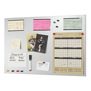 MMF Industries™ STEELMASTER® Soho Collection™ 14in.(H) x 24in.(W) Magnetic Board, Steel/Silver