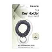 MMF Industries™ STEELMASTER® Wrist Coil Key Holder, Black, 3/Pack