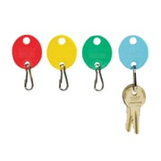 "MMF Industries™ Oval Key Tags With Snap Hook, 1 1/4"", Red"