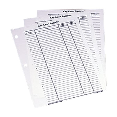 MMF Industries™ Key Loan Record Sheets For Two Tag System