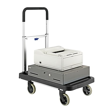 MMF Industries™ STEELMASTER® FlatForm™ Folding Cart, Silver/Black, 36 1/2in.(H) x 16in.(W) x 26 1/2in.(L)
