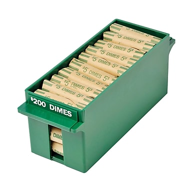 MMF Industries™ Porta-Count® Extra-Capacity Rolled Coin Tray, Green, $200 Dimes, 3 5/8