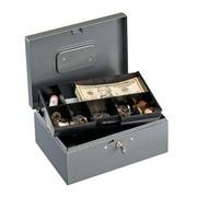 "MMF Industries™ STEELMASTER® Cash Box with Ten-Compartment Tray, Gray, 6 1/8""H x 15 1/4""W x 11 1/8""D"