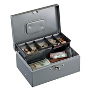 MMF Industries STEELMASTER 221F930GRA Cash Box with Cantilever Tray, Gray