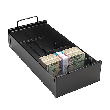 MMF Industries™ STEELMASTER® Currency Tray With Follower Block, Black, 3 3/4