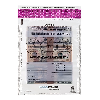 MMF Industries™ FREEZFraud™ 12in. x 9in. Tamper Evident Deposit Bags, Clear