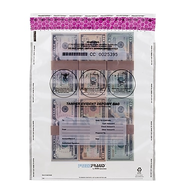 MMF Industries™ FREEZFraud™ 16in. x 12in. Tamper Evident Deposit Bags, Clear