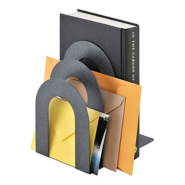 MMF Industries™ STEELMASTER® 5 3/8in. Deluxe Sorter Curved Bookend, Granite