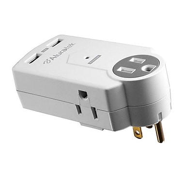 Aluratek 3-Outlet 612 Joule Mini Surge Dual USB Charging Station
