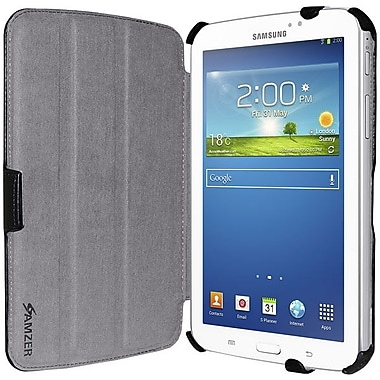 Amzer® Shell Portfolio Case For Samsung Galaxy Tab 3 GT-P3200/GT-P3210, Black Leather Texture