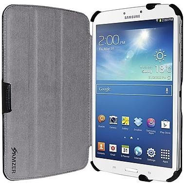 Amzer® Shell Portfolio Case For Samsung Galaxy Tab 3 SM-T310/SM-T315, Black Leather Texture
