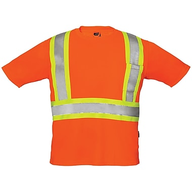 Forcefield Crew Neck Safety Tee, Orange, XL