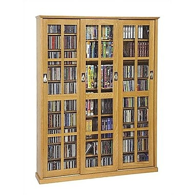 Leslie Dame Sliding Glass 3 Door Multimedia Cabinet; Oak